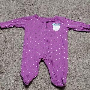 Baby girl purple whale pajamas